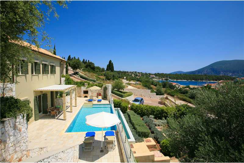 Villa Dentrolivano overlooking Fiscardo Harbour with Ithaca in the background