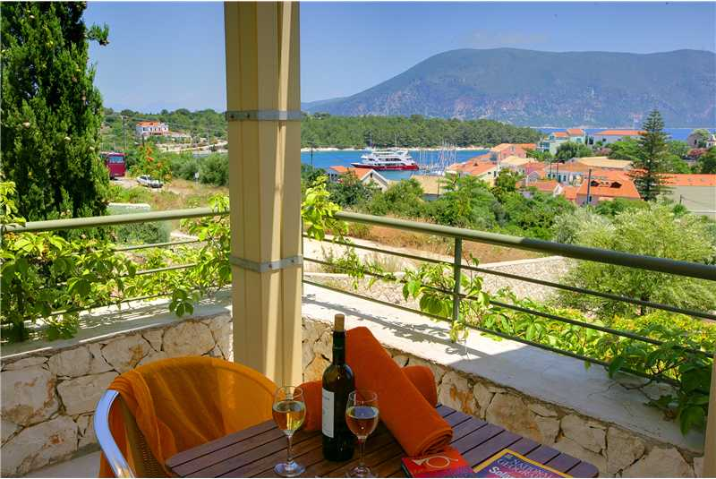 Villa Dentrolivano views of Fiscardo Harbour and Ithaca from bedroom balacony