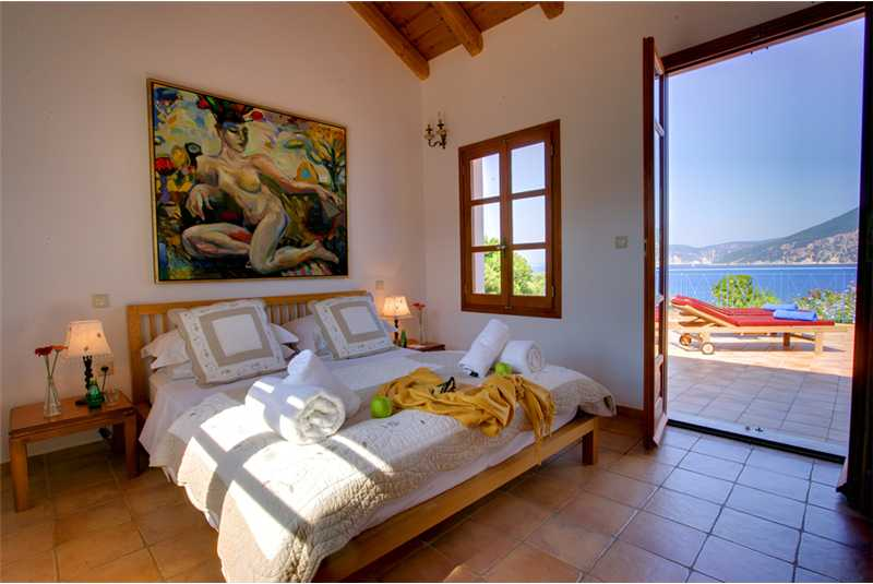 Villa Dolicha downstairs double bedroom with pool access