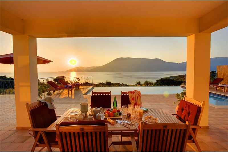 Villa Dolicha enjoy an eveing meal whilst watching the sunset