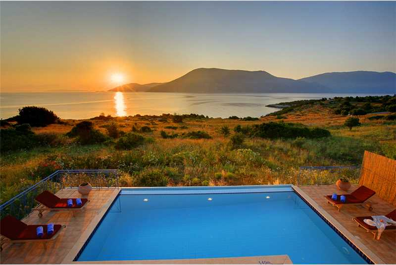 Villa Dolicha watching the sunset over the island of Ithaca