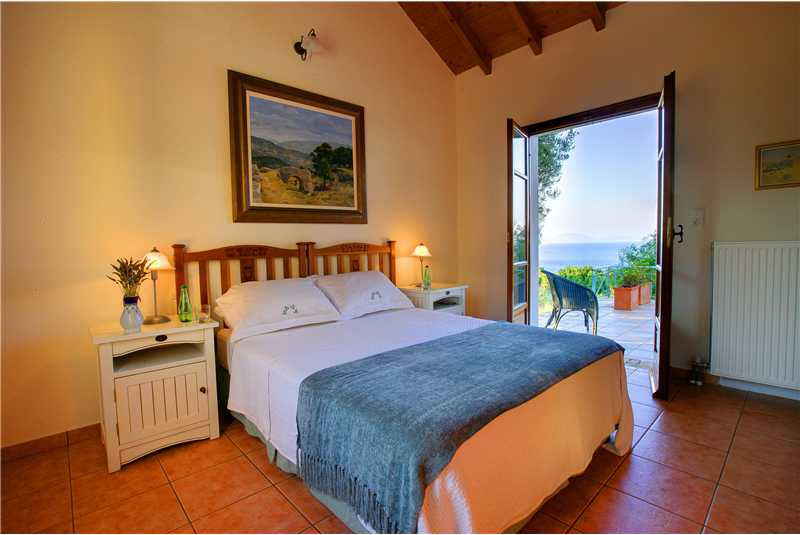 Fiscardo House ground floor double bedroom with pool access