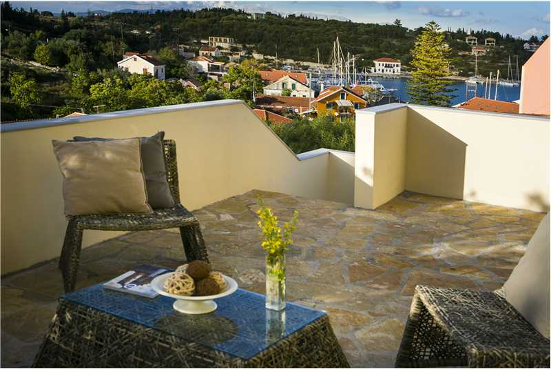 Villa Isalos 1st floor terrace and views of Fiscardo harbour