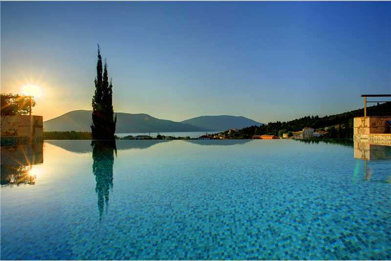 Villa Jasemi infinity pool with Ithica in the distance