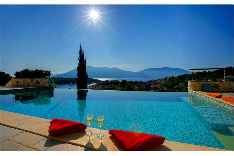 Villa Jasemi infinity pool with stunning views of Fiscardo