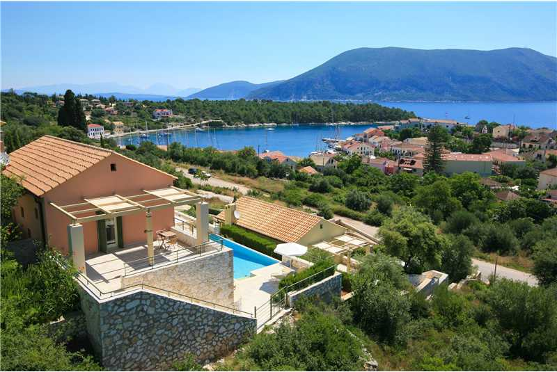 Villa Levanda enjoys wonderful views of Fiscardo Harbour and Ithaca