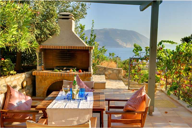 Villa Prikonas BBQ area with views of Assos