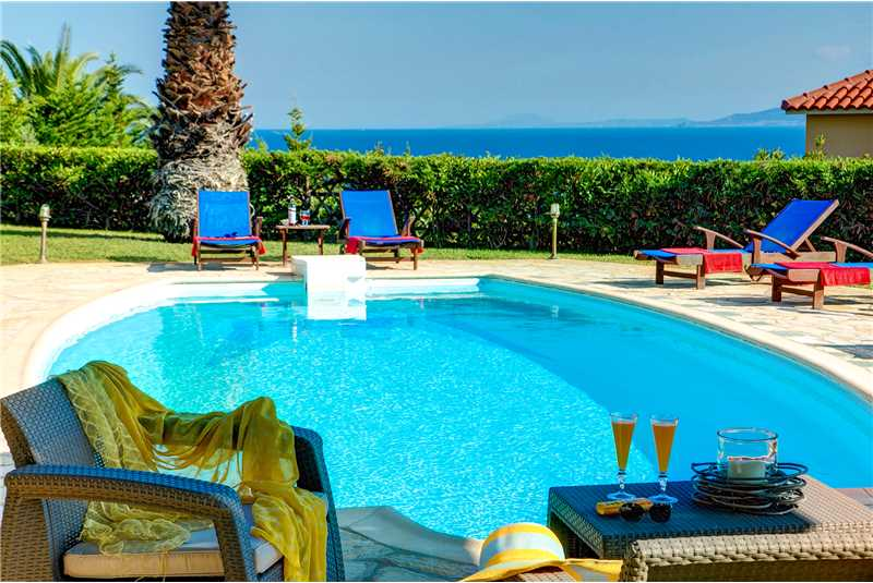 Villa Athena pool with the glistening ionian sea